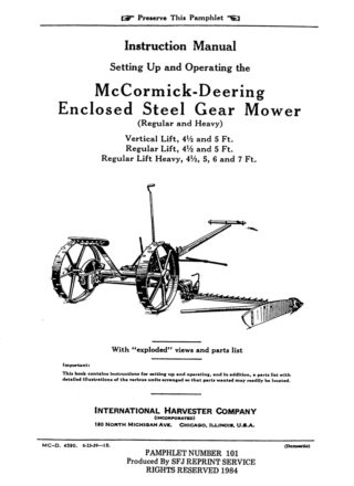 McCormick-Deering No. 9 Enclosed Steel Gear Mower