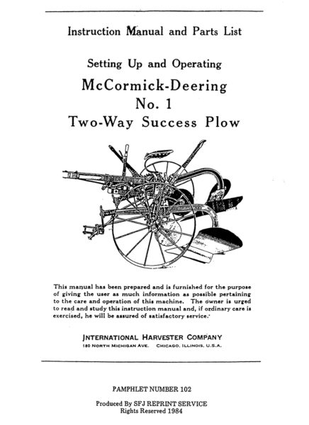 McCormick-Deering No. 1 Two-Way Success Plow
