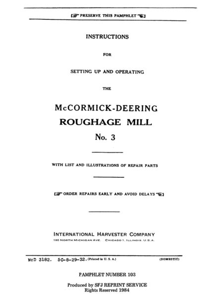 McCormick-Deering Roughage Mill No. 3