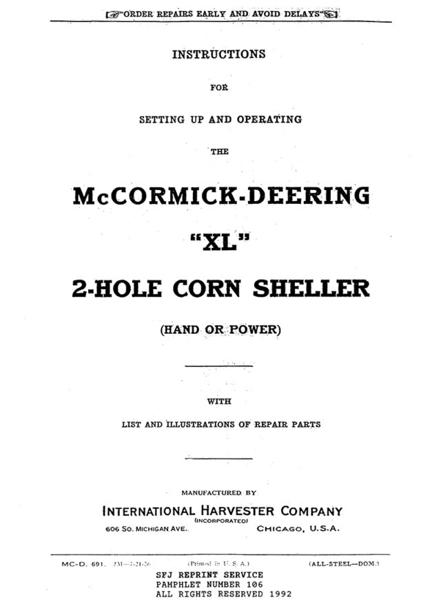 "McCormick-Deering ""XL"" 2-Hole Corn Sheller"