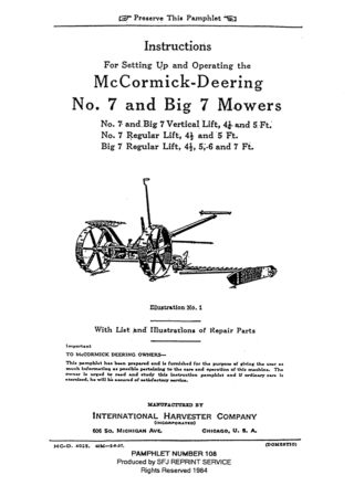 McCormick-Deering No. 7 and Big 7 Mowers