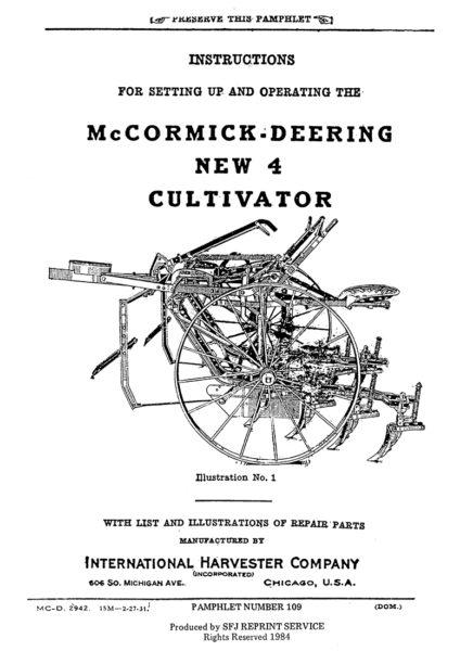 McCormick-Deering New 4 Cultivator
