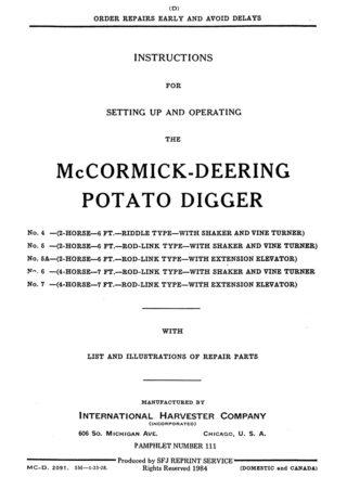 McCormick-Deering Potato Digger
