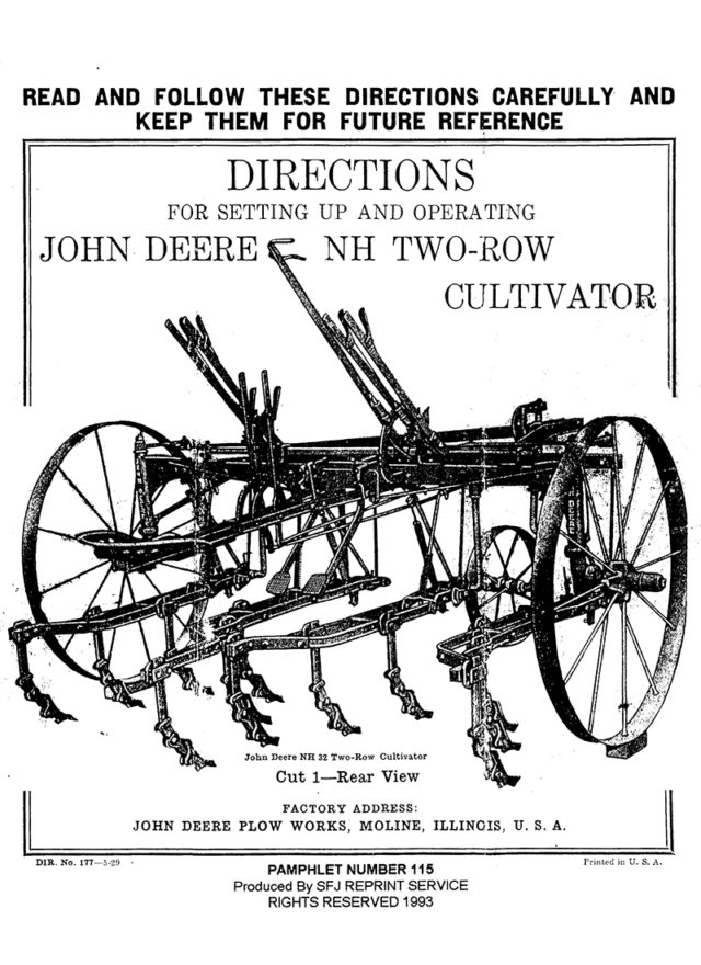 John Deere NH Two-Row Cultivator