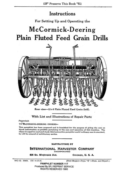 McCormick-Deering Plain Fluted Feed Grain Drills