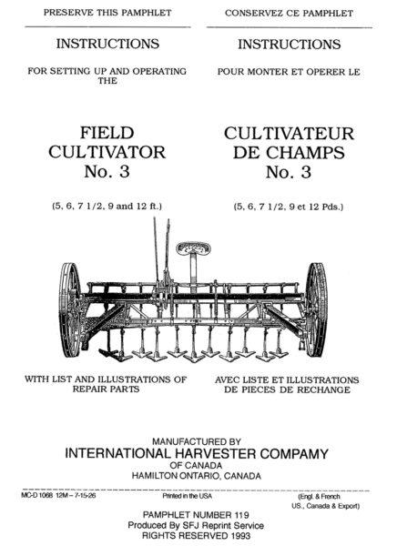 International Harvester Field Cultivator No. 3