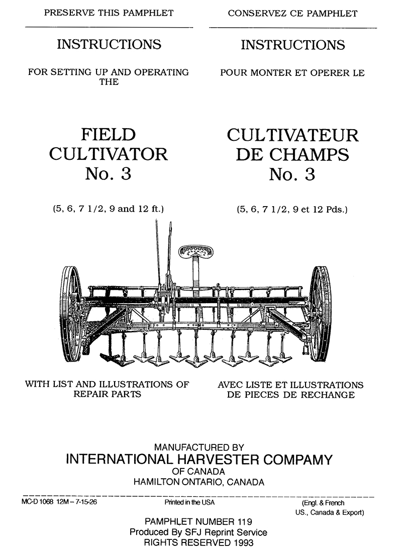 International Harvester Field Cultivator No. 3