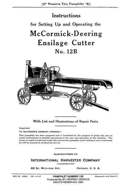 McCormick-Deering Ensilage Cutter No. 12B