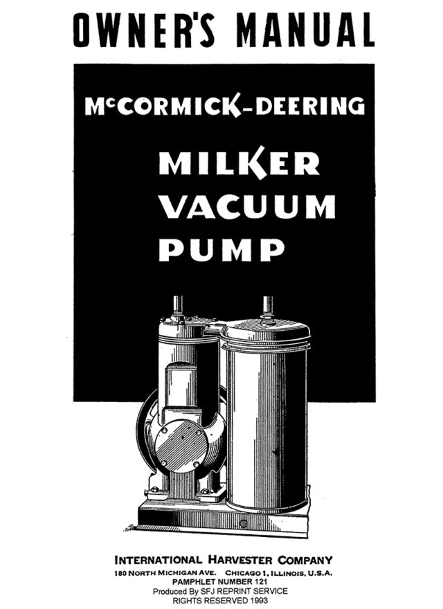 McCormick-Deering Milker Vacuum Pump