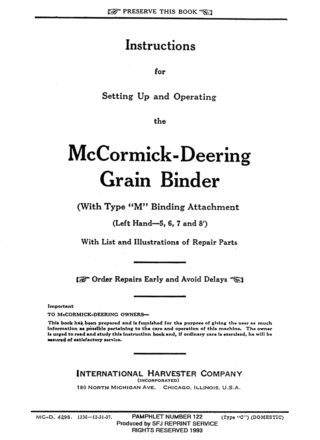McCormick-Deering Grain Binder