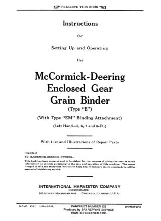 McCormick-Deering Enclosed Gear Grain Binder