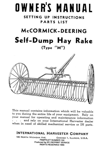 Hay Rake Manual : Manuals product categories small farmer s journal