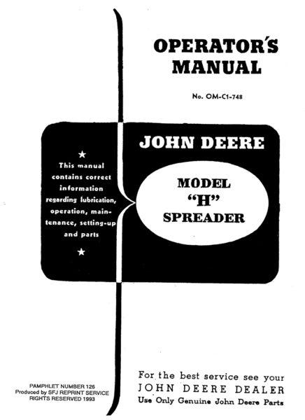 """John Deere Model """"H"""" Spreader"""