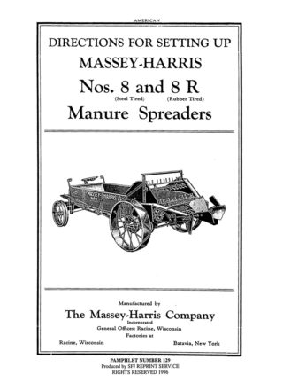 Massey-Harris Nos. 8 and 8R Manure Spreaders
