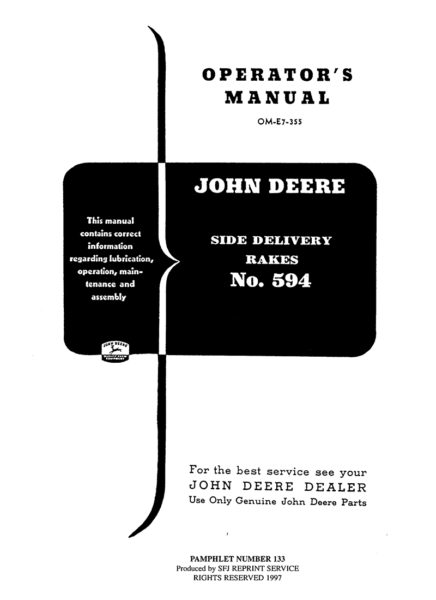 John Deere Side Delivery Rakes No. 594