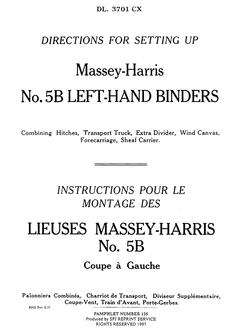 Massey-Harris No. 5B Left-Hand Binders