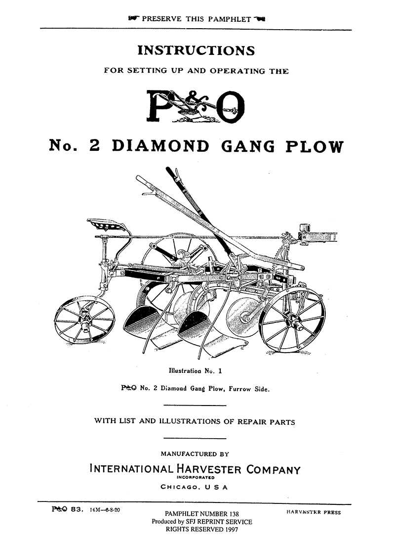 P&O No. 2 Diamond Gang Plow