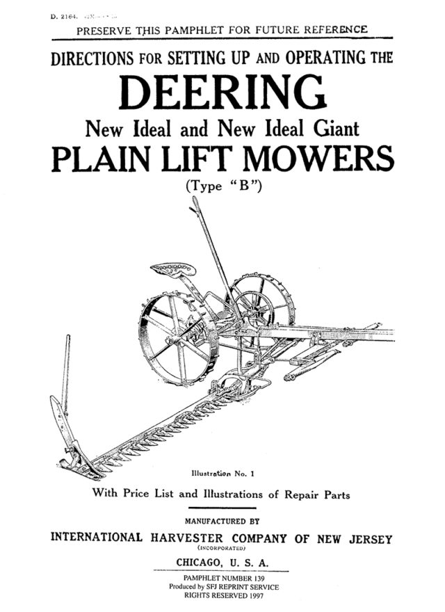 "Deering New Ideal and New Ideal Giant Plain Lift Mowers (Type ""B"")"