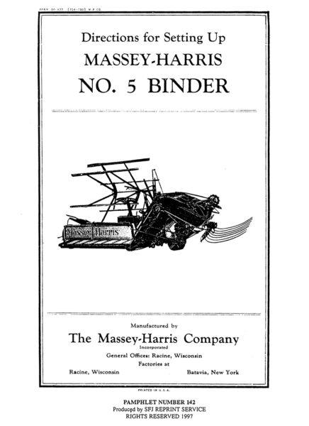 Massey-Harris No. 5 Binder