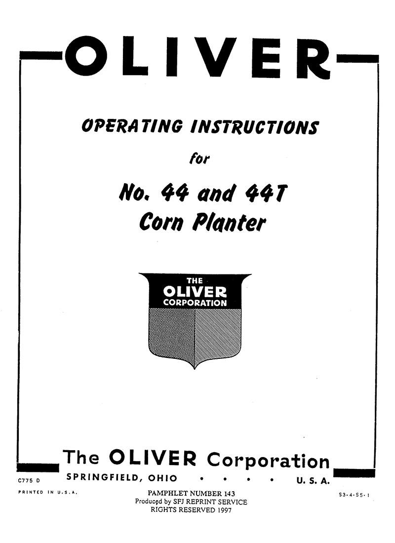 Oliver No. 44 & 44T Corn Planter