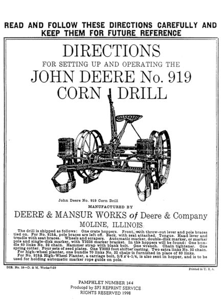 John Deere No. 919 Corn Drill