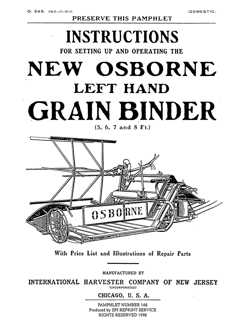Osborne Left Hand Grain Binder