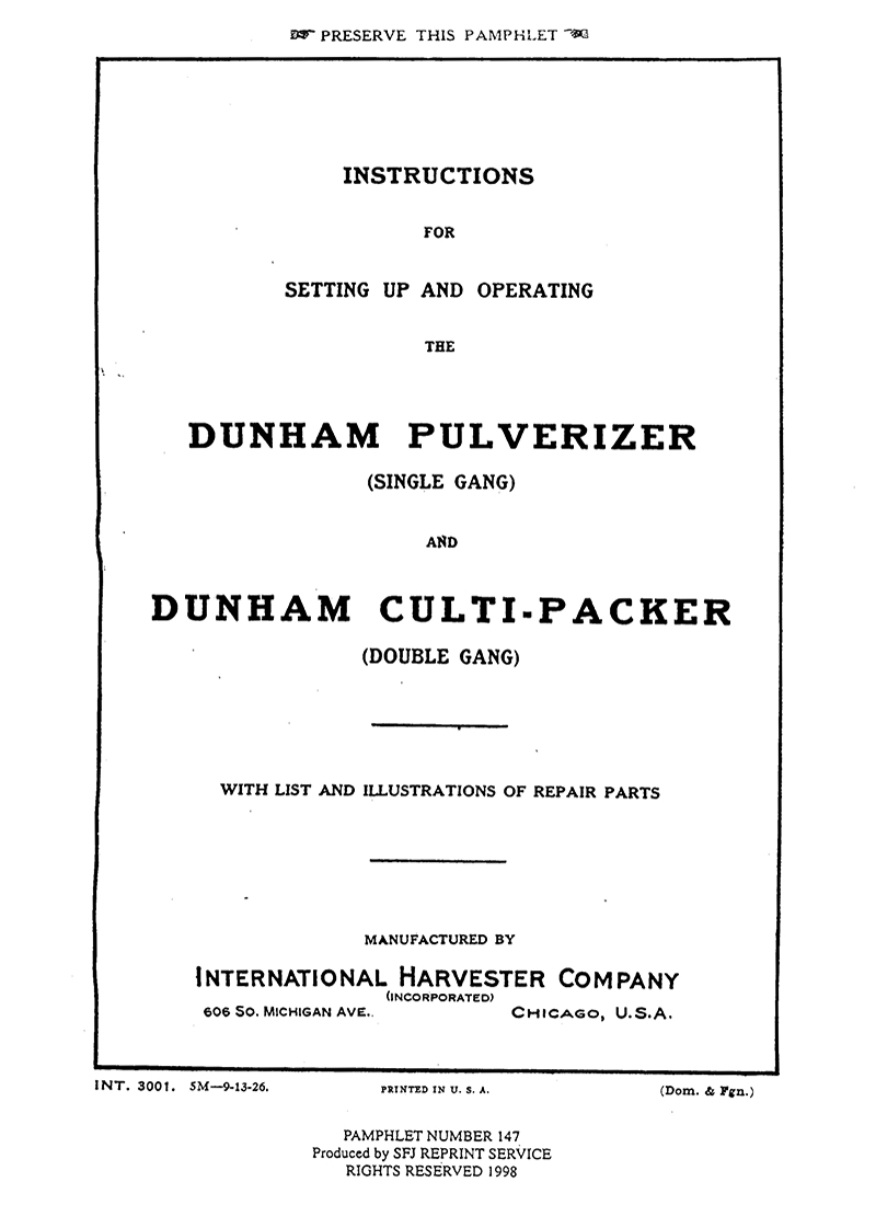 Dunham Pulverizer (Single Gang) and Dunham Culti-Packer (Double Gang)