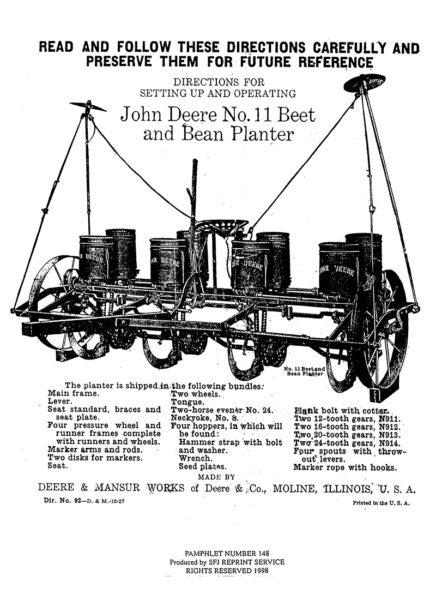 John Deere No. 11 Beet and Bean Planter