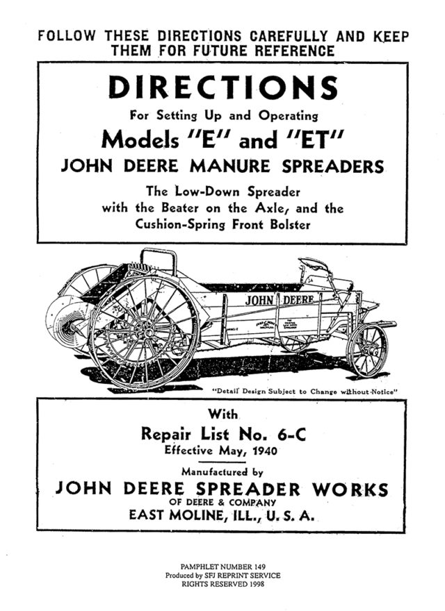 John Deere Models E and ET Manure Spreaders