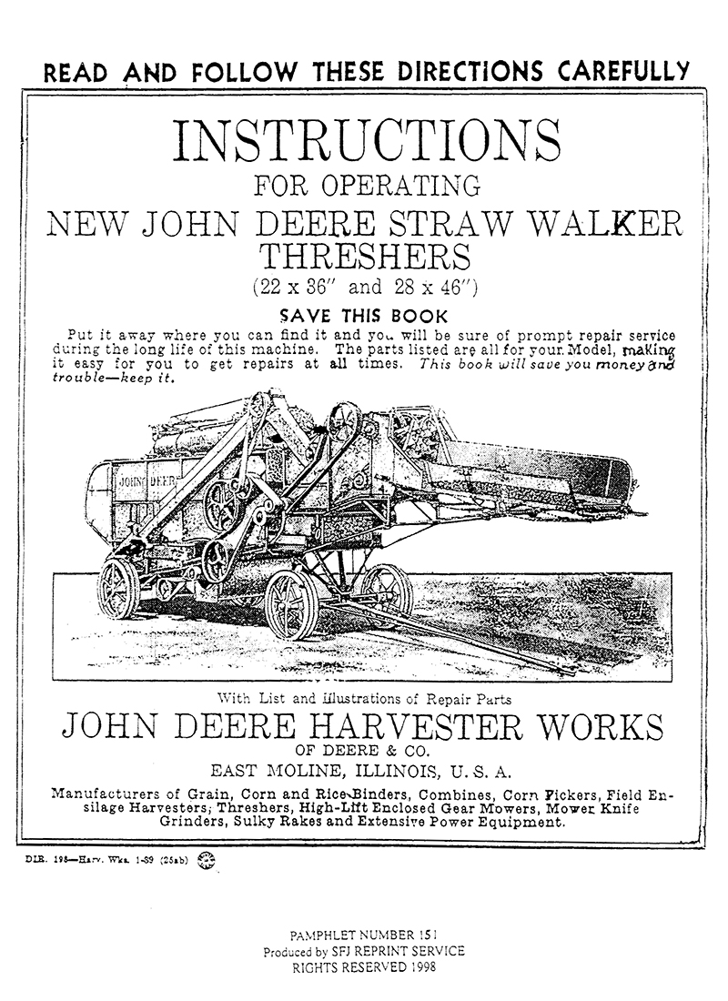 ... John Deere Straw Walker Threshers