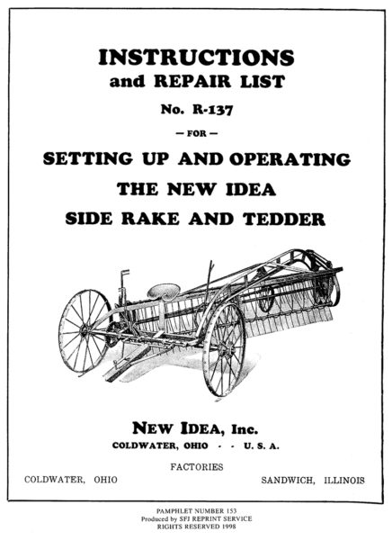 New Idea Side Rake and Tedder No. R-137