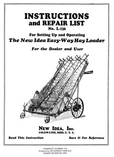 New Idea Easy-Way Hay Loader No. L-136