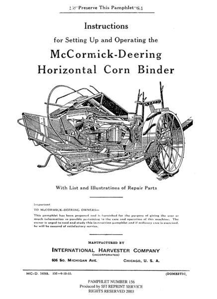 McCormick-Deering Horizontal Corn Binder