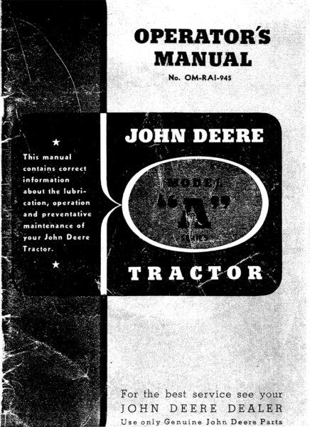 John Deere Model A Series Tractor