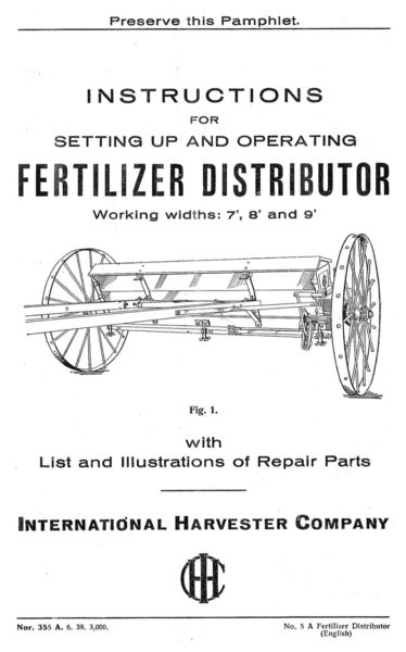 International Harvester Fertilizer Distributor
