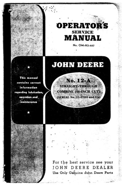 M-159 John Deere No 12A Straight Through Combine