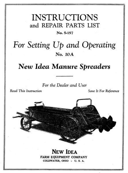 M-162 New Idea Manure Spreader No 10A