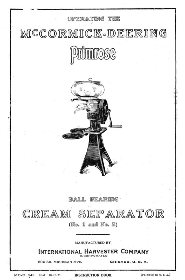 M-165 McCormick-Deering Primrose Cream Separator