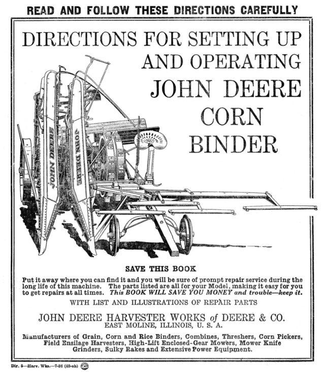M-166 John Deere Corn Binder