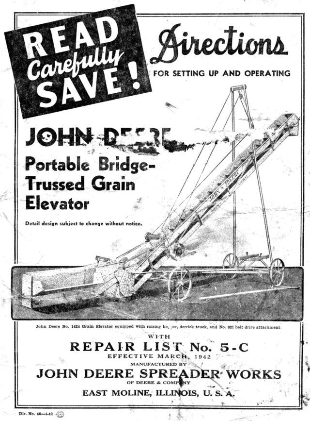 M-168 John Deere Portable Bridge-Trussed Grain Elevator