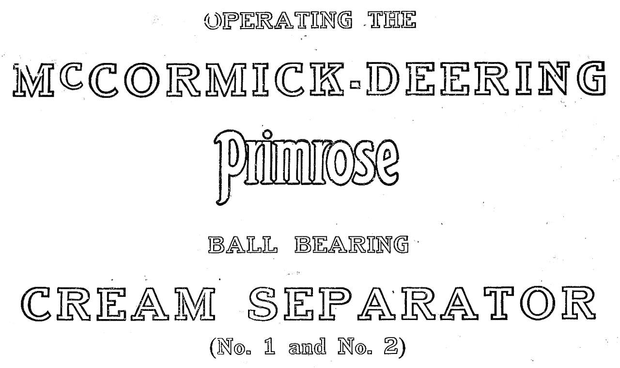 McCormick-Deering Primrose Cream Separator